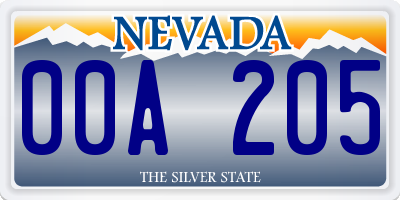 NV license plate 00A205