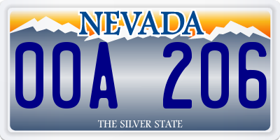 NV license plate 00A206