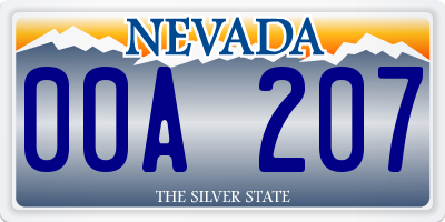NV license plate 00A207