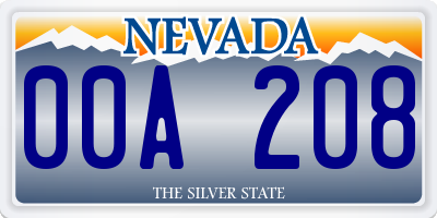 NV license plate 00A208