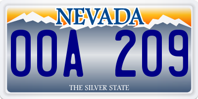 NV license plate 00A209