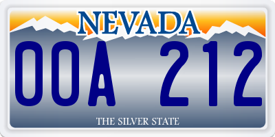 NV license plate 00A212
