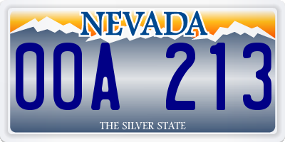 NV license plate 00A213