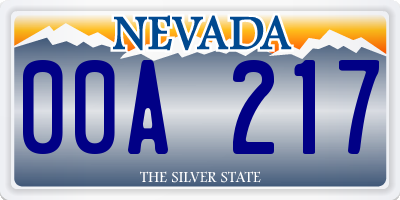 NV license plate 00A217
