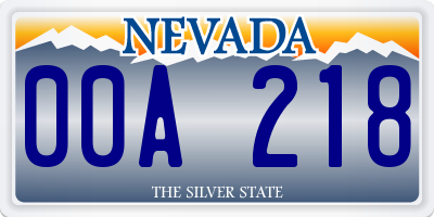 NV license plate 00A218