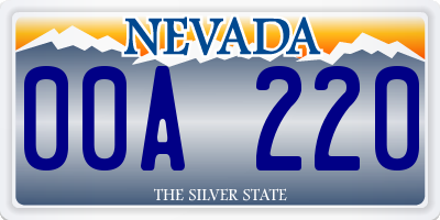 NV license plate 00A220