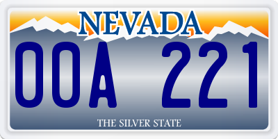 NV license plate 00A221