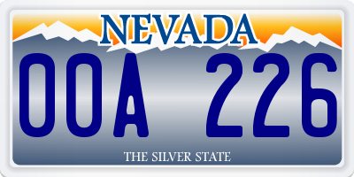 NV license plate 00A226