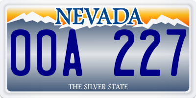 NV license plate 00A227