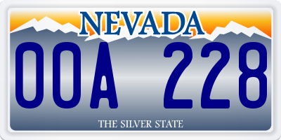 NV license plate 00A228