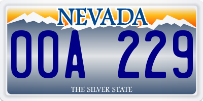 NV license plate 00A229