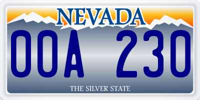 NV license plate 00A230