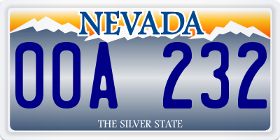 NV license plate 00A232