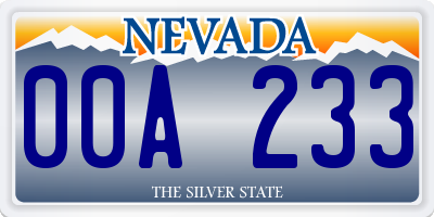 NV license plate 00A233