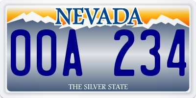 NV license plate 00A234