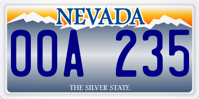 NV license plate 00A235