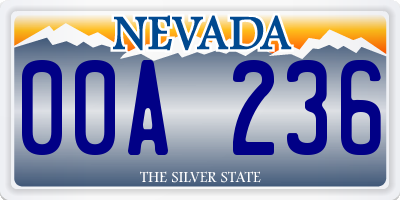 NV license plate 00A236