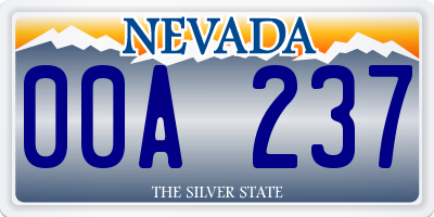 NV license plate 00A237