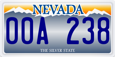 NV license plate 00A238