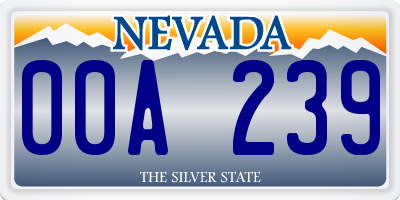 NV license plate 00A239