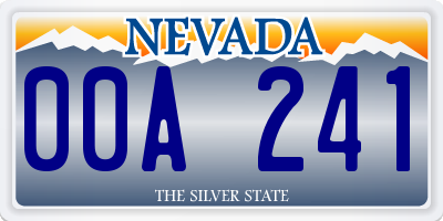NV license plate 00A241