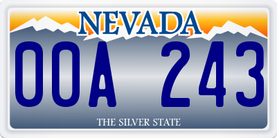 NV license plate 00A243