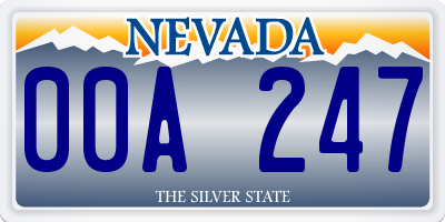 NV license plate 00A247