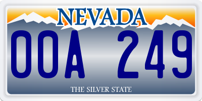 NV license plate 00A249