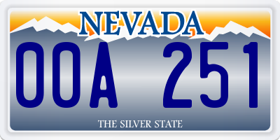 NV license plate 00A251