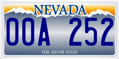 NV license plate 00A252