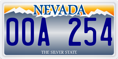 NV license plate 00A254