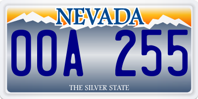 NV license plate 00A255