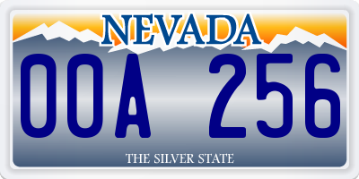 NV license plate 00A256