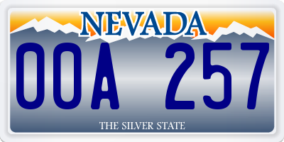 NV license plate 00A257