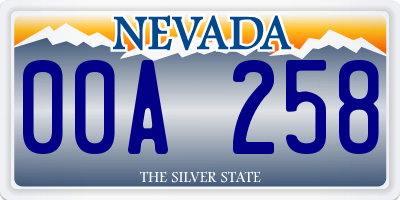 NV license plate 00A258