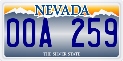 NV license plate 00A259