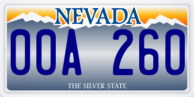 NV license plate 00A260