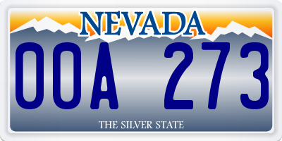 NV license plate 00A273