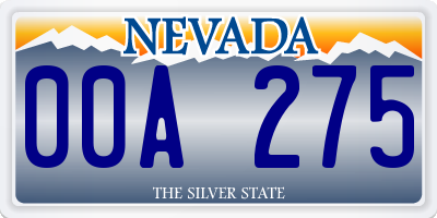 NV license plate 00A275