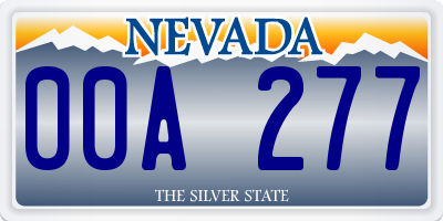 NV license plate 00A277