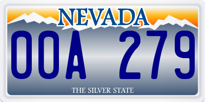 NV license plate 00A279