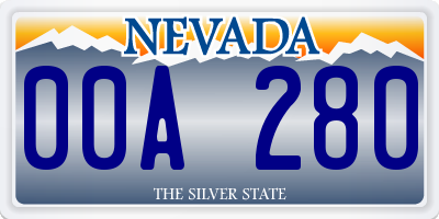 NV license plate 00A280