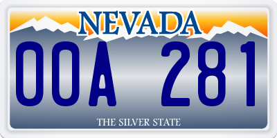 NV license plate 00A281