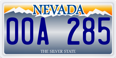 NV license plate 00A285