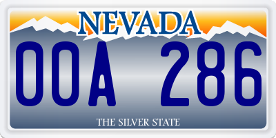 NV license plate 00A286