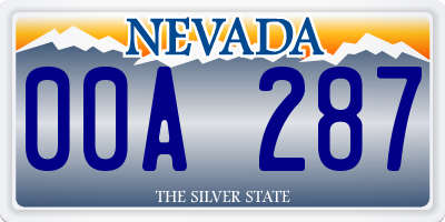 NV license plate 00A287