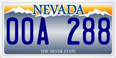 NV license plate 00A288