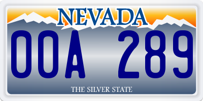 NV license plate 00A289