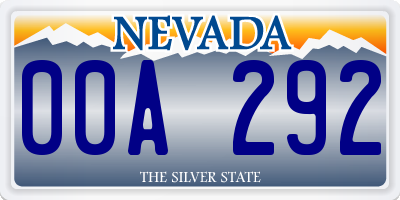 NV license plate 00A292