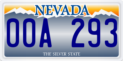 NV license plate 00A293